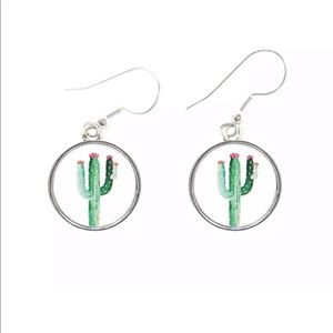 Cactus Silver Charm Earrings